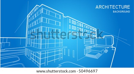 Wire frame hotel blue print - stock vector