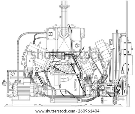 Wire-frame industrial equipment engine. EPS 10 vector format. - stock vector