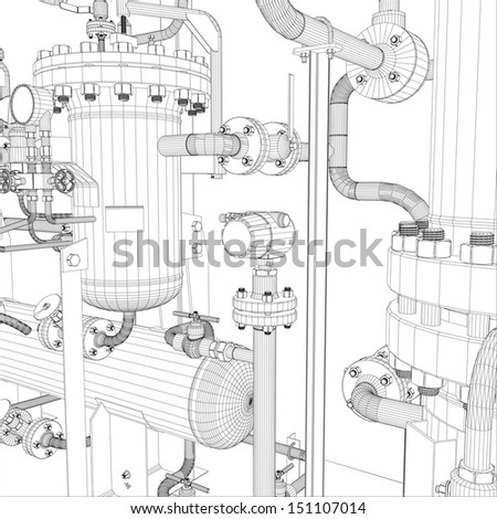Wire-frame industrial equipment. EPS 10 vector format - stock vector