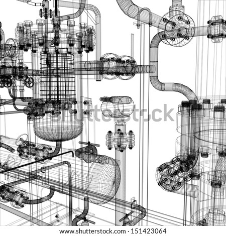 Wire-frame industrial equipment on the white background. EPS 10 vector format - stock vector