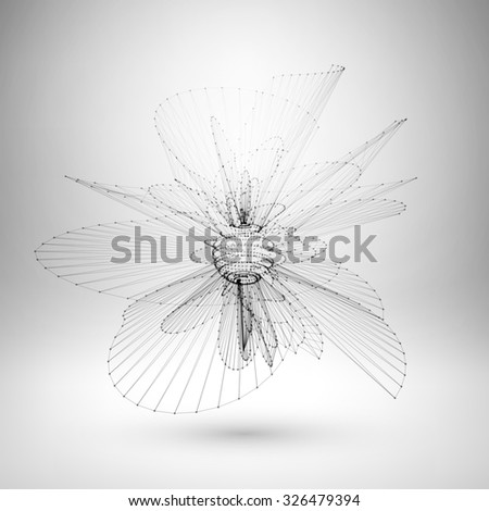 Wire frame mesh polygonal element. Sphere with connected lines and dots. Vector Illustration EPS10. - stock vector