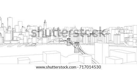 Wireframe new york city blueprint style stock vector 717014530 wire frame new york city blueprint style 3d rendering vector illustration architecture malvernweather Gallery