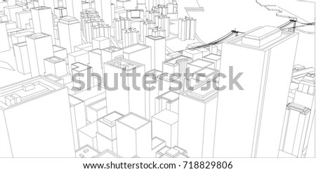 Wireframe new york city blueprint style stock vector 718829806 wire frame new york city blueprint style 3d rendering vector illustration architecture malvernweather Image collections