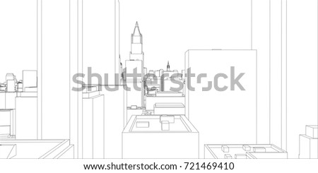 Wireframe new york city blueprint style stock vector 721469410 wire frame new york city blueprint style 3d rendering vector illustration architecture malvernweather Image collections
