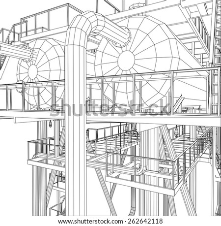 Wire-frame Oil and Gas industrial equipment. Tracing illustration of 3d. EPS 10 vector format. - stock vector