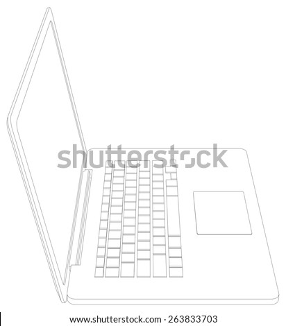 Wire-frame open laptop. Front view. Vector illustration rendering of 3d
