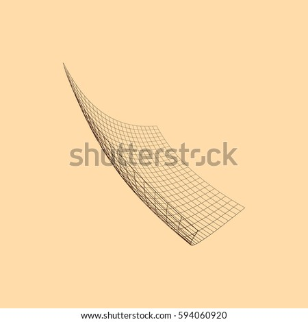 Wire frame polygon. Bent wire frame polygon. Vector illustration.