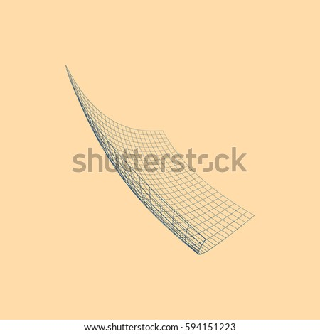 Wire frame polygonal landscape. Bent wire frame polygon. Vector illustration.