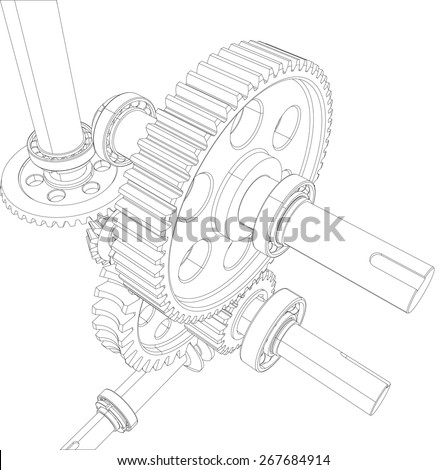 Wire-frame reducer consisting of gears, bearings and shafts. Vector illustration, 3d render - stock vector