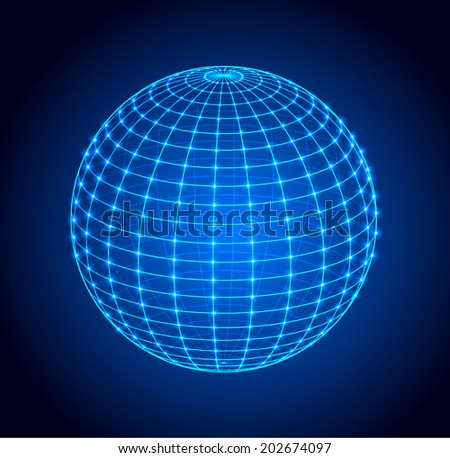 Wire frame sphere. Vector illustration.