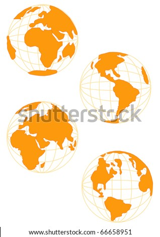 Wire Globe in Gold - stock vector