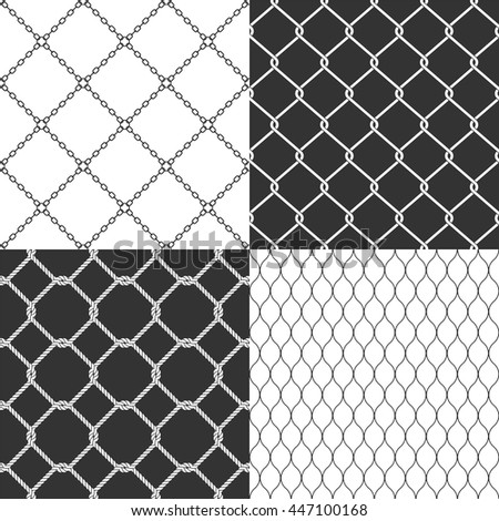 Wire mesh. Seamless vector pattern. Set of steel wired fences. Chain link background. Security or safety design concept. - stock vector