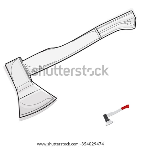 Wire nice classical axe on white â?? Black and white construction tools â?? flatten illustration master vector icon - stock vector