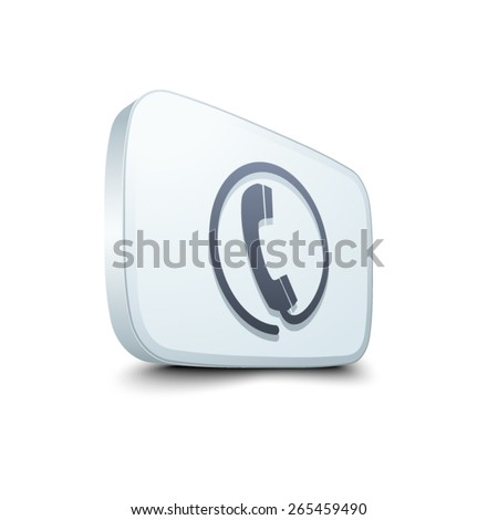 Wire Phone Button - stock vector