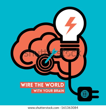 Wire the World Creative Brain Icon with Light Bulb Power Concept Illustration - stock vector