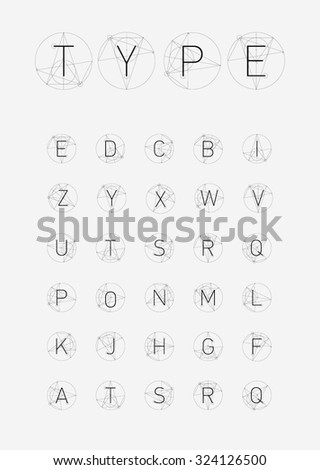 Wire Vector low poly alphabet font. Creative geometric font. Hipster typography. ABC - stock vector