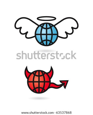 Wire world heaven and hell - stock vector