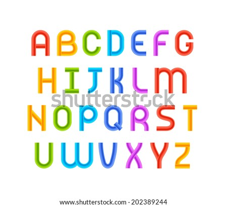 Wired wavy cable, colorful contour alphabet isolated on black background, vector illustration - stock vector