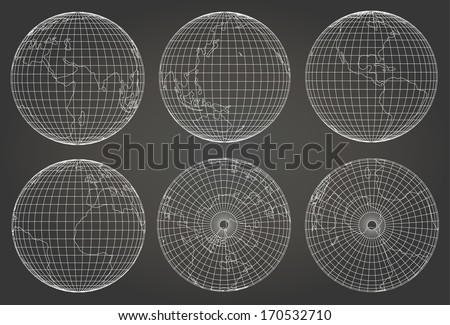 wireframe and earth model (3d model derived from source map- http://visibleearth .nasa.gov/)  - Vector  - stock vector