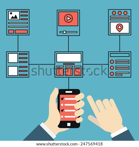 Wireframe and structures of websites. Responsive web design of mobile application for device. User experience and interaction - vector illustration - stock vector