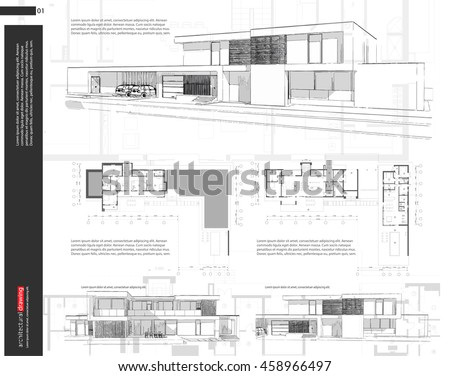 Wireframe blueprint drawing of 3D building, house. Vector architectural template background.