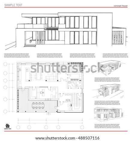 Wireframe blueprint drawing 3d building house stock vector 2018 wireframe blueprint drawing of 3d building house vector architectural template background malvernweather Image collections