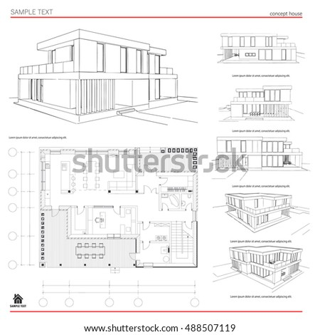 Wireframe blueprint drawing 3 d building house stock vector wireframe blueprint drawing of 3d building house vector architectural template background malvernweather Image collections