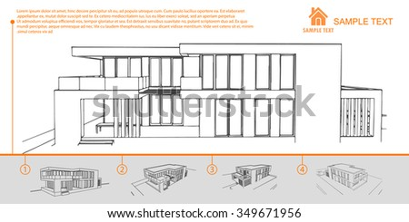 Wireframe Blueprint Drawing Building Vector Stock Vector