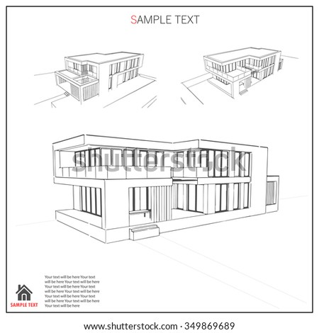 Wireframe blueprint drawing 3 d building vector stock vector hd wireframe blueprint drawing of 3d building vector architectural template background malvernweather Image collections