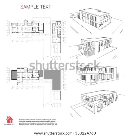 Architecture Drawing Template wireframe drawing 3d building vector architectural stock vector