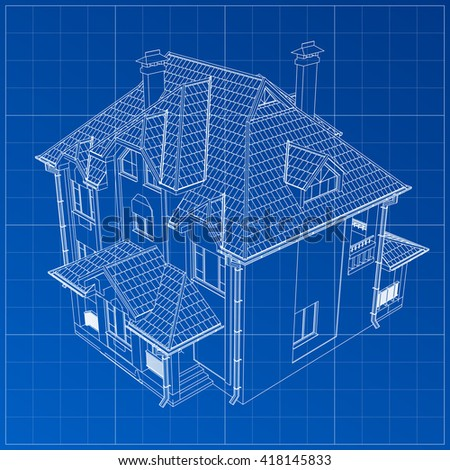 Wireframe blueprint drawing 3d building vector vectores en stock wireframe blueprint drawing of 3d building vector architectural template background malvernweather