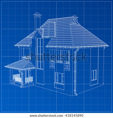 Wireframe blueprint drawing 3 d building vector stock vector wireframe blueprint drawing of 3d building vector architectural template background malvernweather