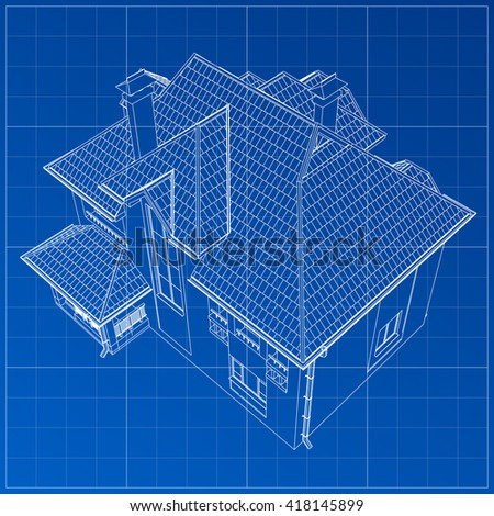 Wireframe blueprint drawing 3d building vector stock vector wireframe blueprint drawing of 3d building vector architectural template background malvernweather Image collections