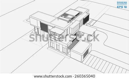 Wireframe blueprint drawing of 3D building. Vector illustration. - stock vector