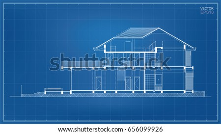 Wireframe blueprint section tropical house construction stock photo wireframe blueprint section of tropical house construction vector illustration malvernweather Gallery