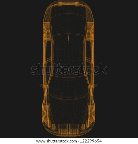 wireframe car top - stock vector