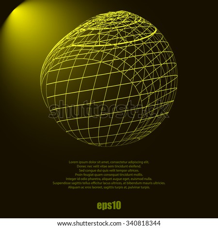 Wireframe Design Element. 3D Sphere