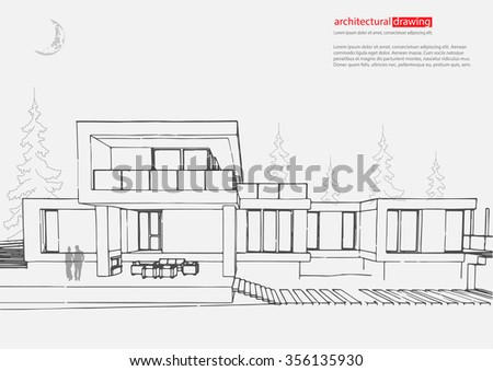 Detailed Architectural Vector Drawing Isolated City Stock Vector