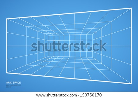 Wireframe grid room space, Interior for design and decoration - Vector illustration
