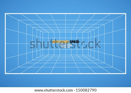 Wireframe grid space (room 6X8 unit), Interior for design and decoration - Vector illustration - stock vector