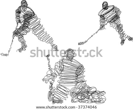 Wireframe hockey players - stock vector