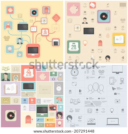Wireframe kit for mobile phone UI design. - stock vector