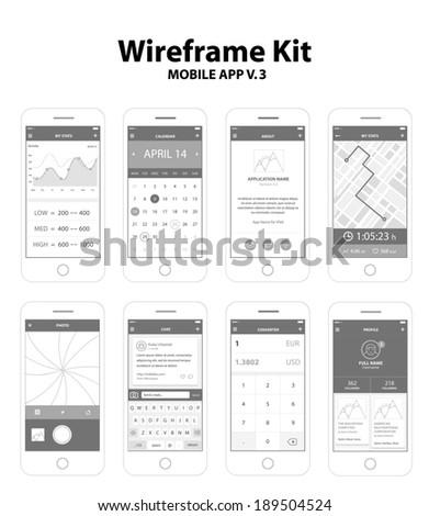Wireframe Kit Mobile App v.3 - stock vector