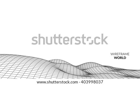 Wireframe Landscape Background. Futuristic Landscape with line Grid. Low Poly 3D Wireframe Mapping. Network Cyber Technology background.