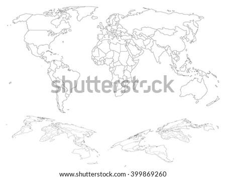 Wireframe map of world with countries borders - stock vector