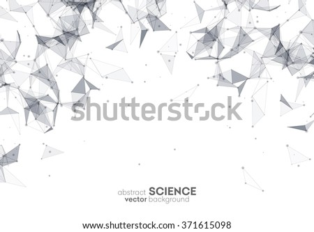 Wireframe mesh polygonal background. Abstract form with connected lines and dots. Low poly background. Vector Illustration EPS10. - stock vector