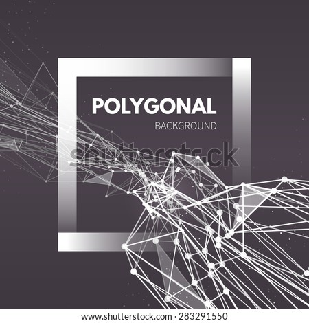 Wireframe mesh polygonal background. Wave with connected lines and dots. Vector Illustration EPS10. - stock vector