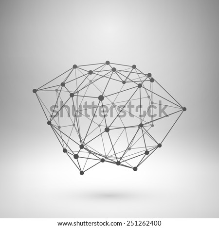 Wireframe mesh polygonal element. Abstract form with connected lines and dots. Vector Illustration EPS10. - stock vector