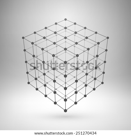 Wireframe mesh polygonal element. Cube with connected lines and dots. Vector Illustration EPS10. - stock vector