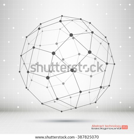 Wireframe mesh polygonal element. Sphere with connected lines and dots. Connection Structure. Complex geometric shapes.  Modern Technology. Social Network Graphic Concept - stock vector